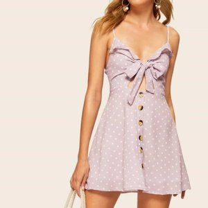 Polka Dot Bow Ruffle Mini Dress With Buttons